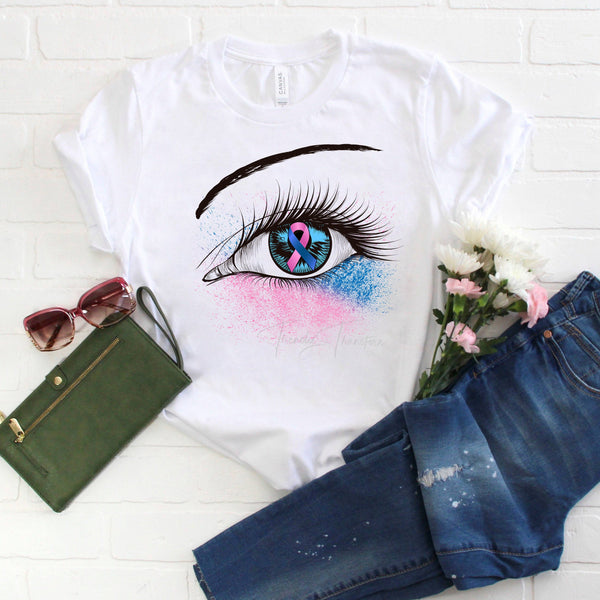 Pink and Blue Ribbon Awareness Glitter Eye Sublimation Transfer