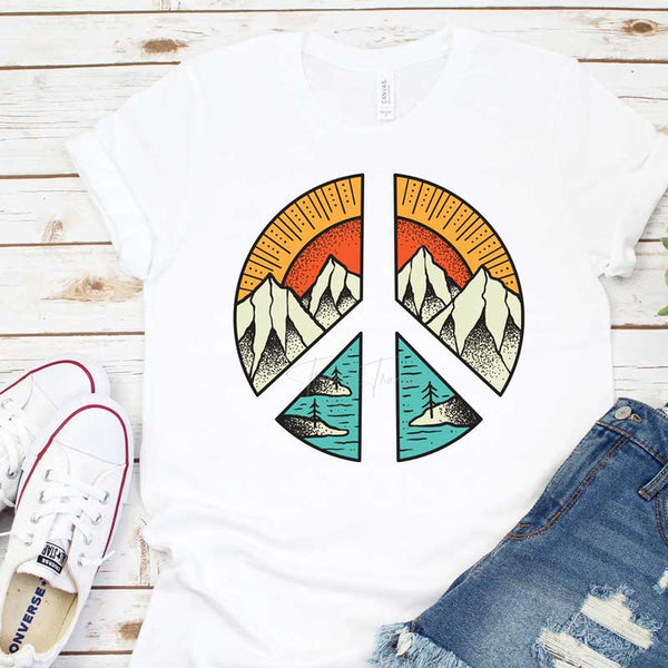 Peace Sign Mountain Scene Sublimation Transfer