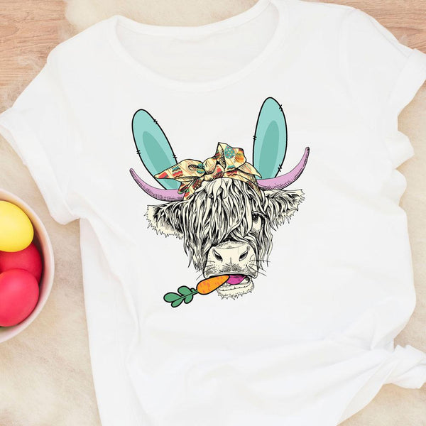 Shaggy Easter Cow Sublimation Transfer