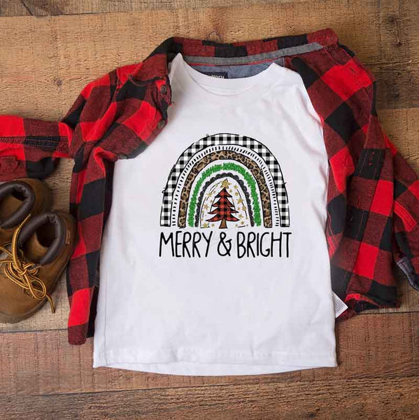 Merry And Bright Christmas Rainbow Sublimation Transfer