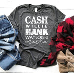 Cash Hank Willie Waylon & Merle Country WHITE SHIPS 5/28 Screen Print Heat Transfer