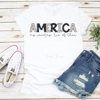 America Word Art My Country Tis Of Thee Patriotic Sublimation Transfer
