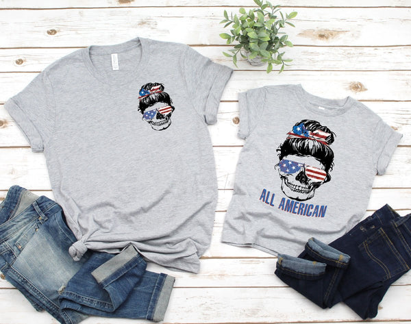 All American Skull POCKET Screen Print Heat Transfer