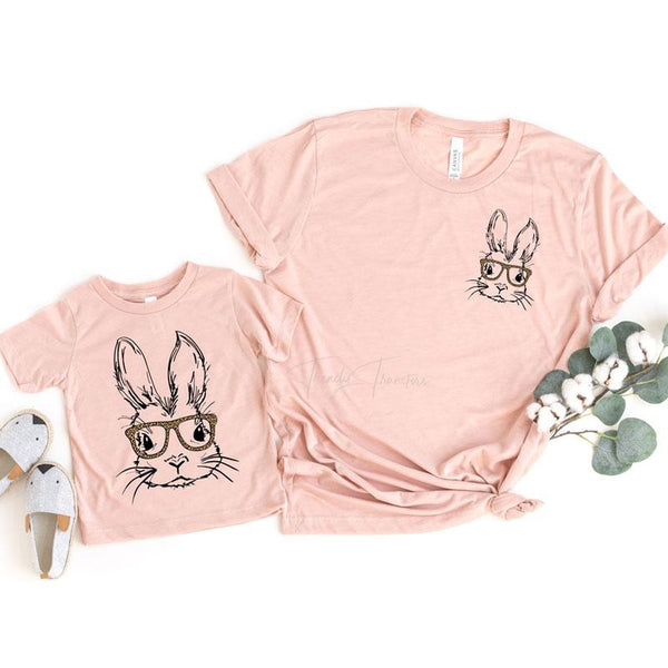 Leopard Bunny Glasses YOUTH Screen Print Heat Transfer