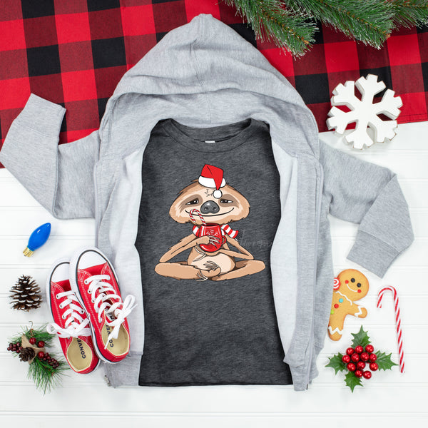 Hot cocoa Sloth Youth Screen Print Heat Transfer
