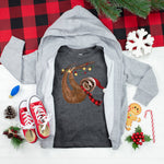 Winter plaid scarf Sloth Youth Screen Print Heat Transfer