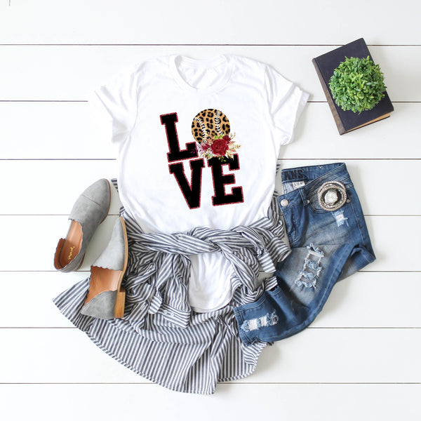 LOVE Baseball Word Art Leopard floral Sublimation Transfer