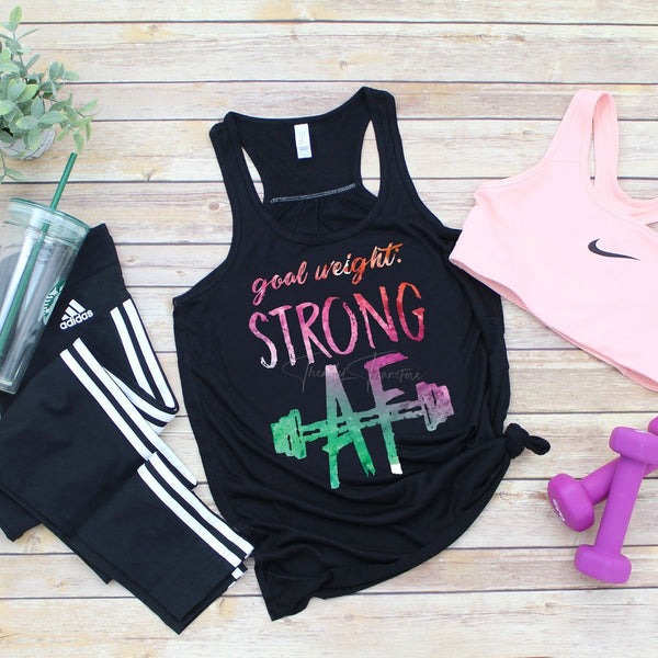 Goal Weight Strong Af Watercolor Screen Print Heat Transfer