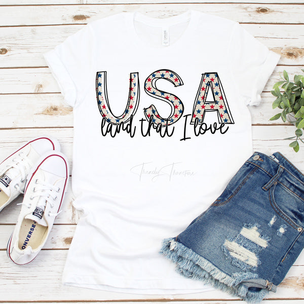 USA Land That I Love Patriotic Stars Sublimation Transfer