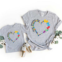 Autism Heart ADULT Screen Print Heat Transfer