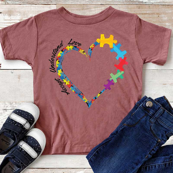 Autism Heart YOUTH  Screen Print Heat Transfer