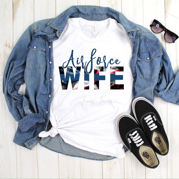 Airforce Wife Blue Line Flag Sublimation Transfer