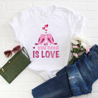 All you need Is love Birds Plaid Pink Valentine Sublimation Transfer
