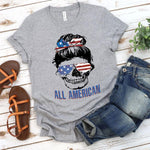 All American Skull Screen Print Heat Transfer