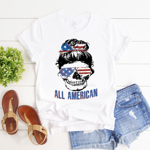 All American Messy bun skull red white and blue sunglasses flag Patriotic Sublimation Transfer