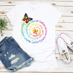Autism Butterfly Word Spiral Autism Awareness Sublimation Transfer