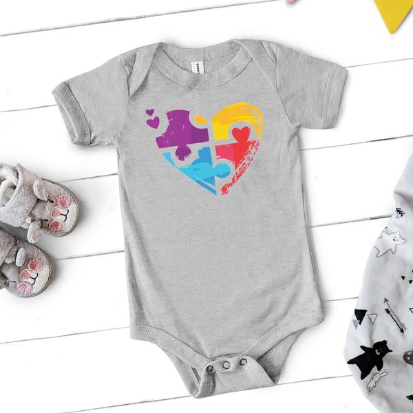 Puzzle Heart Autism Awareness INFANT Screen Print Heat Transfer