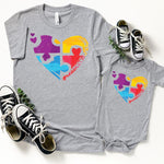 Puzzle Heart Autism Awareness ADULT Screen Print Heat Transfer