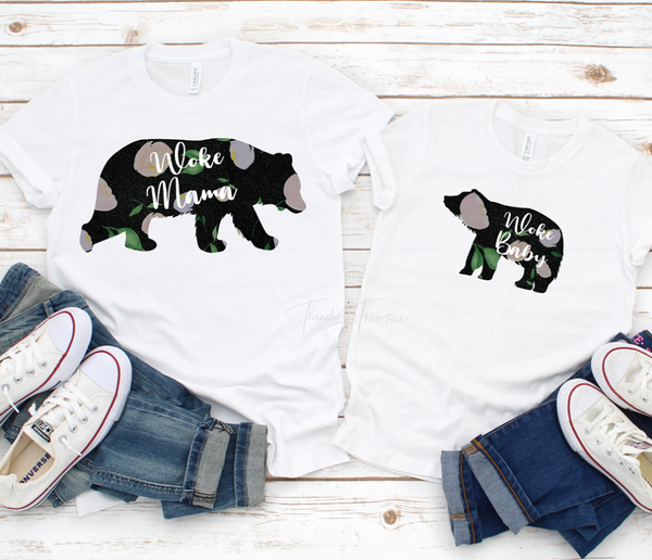 Mama and Baby Bear Woke Floral Sublimation Transfer