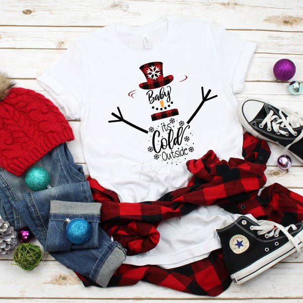 Baby it's Cold Outside Snowman Plaid Sublimation Transfer