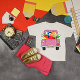 Back To School Pink Vintage Truck Sublimation Transfer