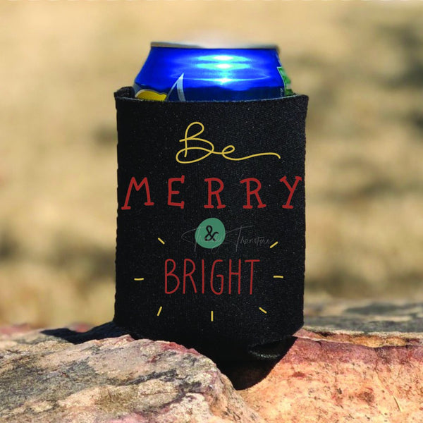 Be Merry & Bright POCKET or Can Hugger Screen Print Heat Transfer