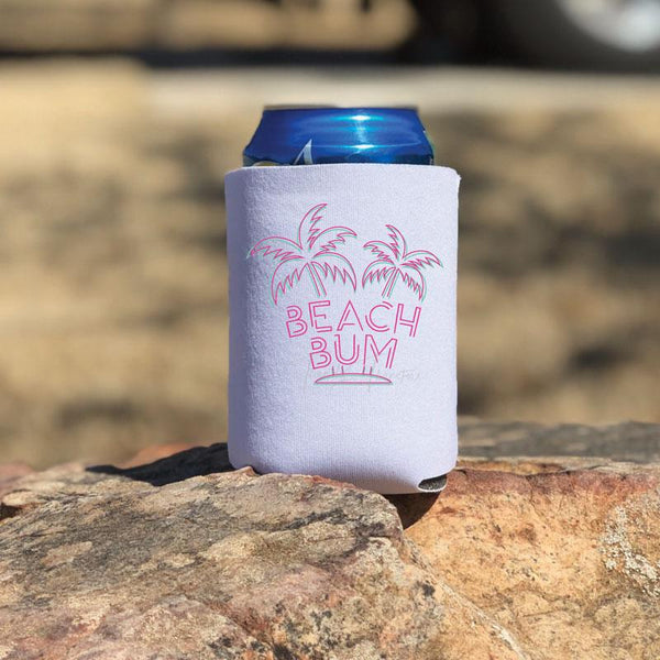 "Beach Bum Can Hugger Screen Print Heat Transfer ""Use on light colors only"""