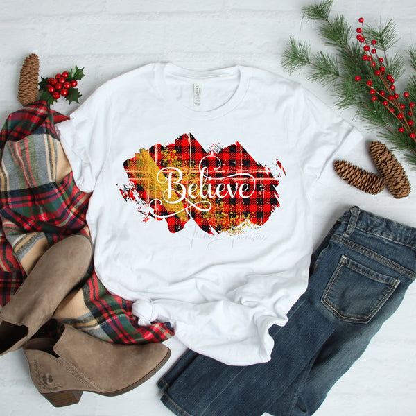 Believe word art Christmas colors red buffalo plaid gold glitter Sublimation Transfer