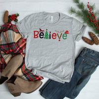 Believe word art christmas ADULT SHIPS 11/30 Screen Print Heat Transfer
