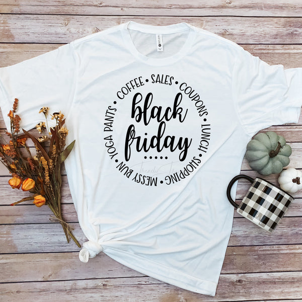 Black Friday word art Circle Sublimation Transfer