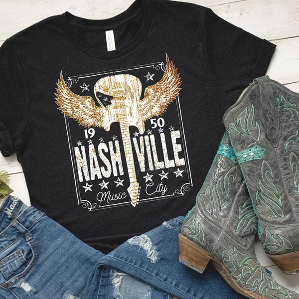 Nashville Music City WHITE  SHIPS 5/20 Screen Print Heat Transfer