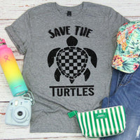 Black Save the Turtles Screen Print Transfer