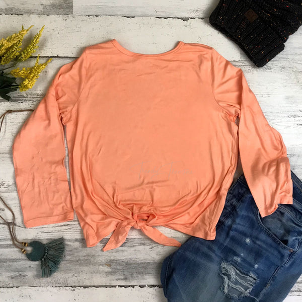 Tangerine Long Sleeve Tie Front Blank Shirt