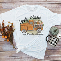 Simply Blessed and pumpkin obsessed vintage truck Sublimation Transfer