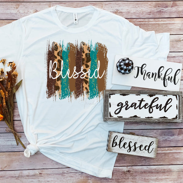 Blessed word art leopard glitter pattern Sublimation Transfer