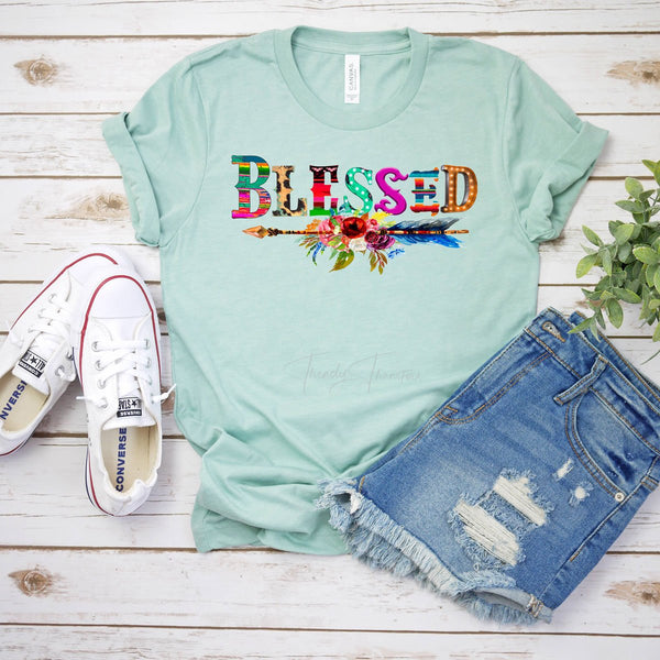 Blessed Serape and Leopard Screen Print Heat Transfer