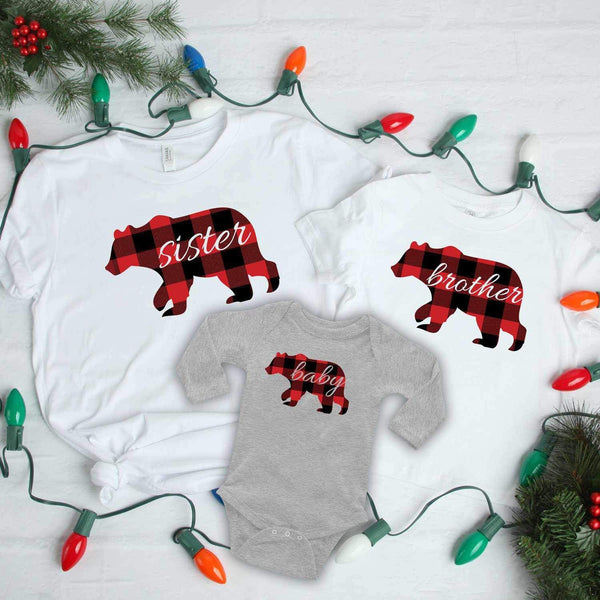Buffalo Plaid Sister Bear Screen Print Transfer