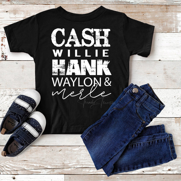Cash Hank Willie Waylon & Merle Country WHITE Youth Screen Print Heat Transfer