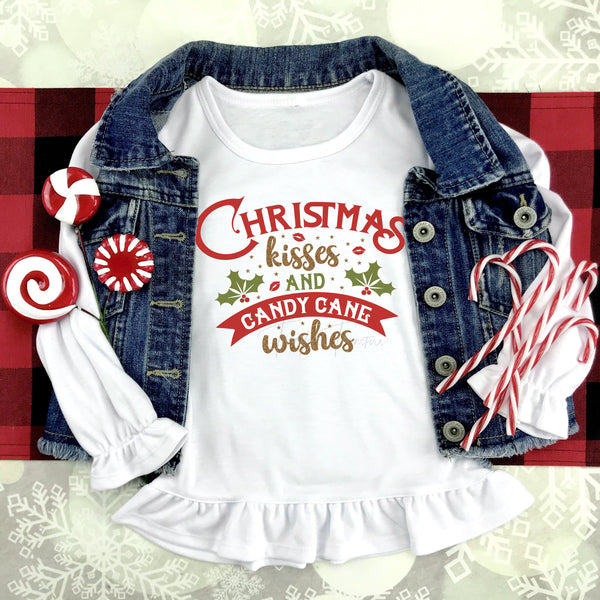 Christmas Kisses and Candy Cane Wishes Sublimation Transfer