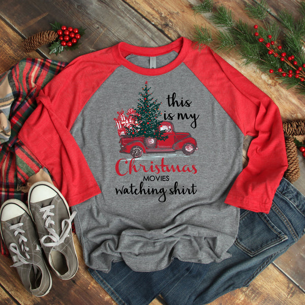 This is my Christmas movies watching shirt Vintage truck Screen Print Heat Transfer