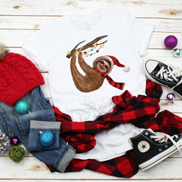 Christmas Winter Sloth Plaid Scarf Sublimation Transfer