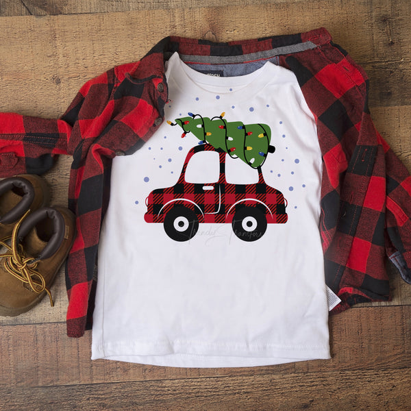 Plaid Car with Christmas Tree Sublimation Transfer