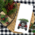 Christmas Jeep TEA TOWEL/INFANT Screen Print Heat Transfers