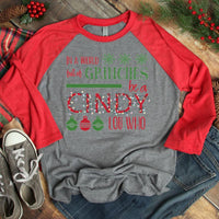 In a World Full of Grinches Be a Cindy Lou Who YOUTH Screen Print Heat Transfer