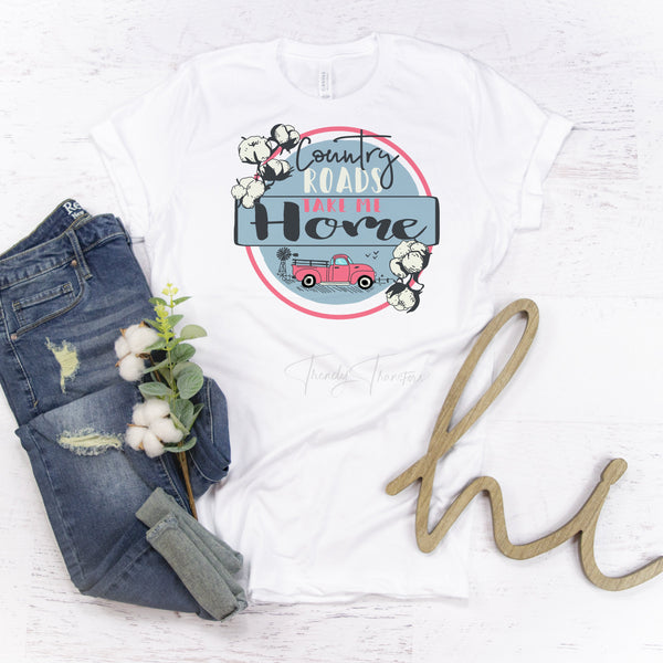 Country Roads Take Me Home vintage truck Sublimation Transfer