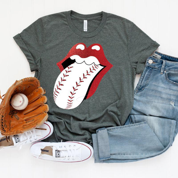 Baseball Lips Glitter ADULT Screen Print Heat Transfer