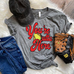 You're Outta Here Softball Screen Print Heat Transfer