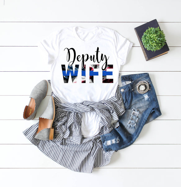 Deputy Wife Blue Line Flag Sublimation Transfer