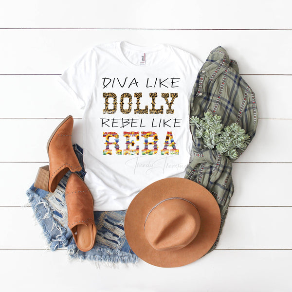 Diva Like Dolly Rebel Like Reba Leopard Print and Sunflower Serape Fan Art Sublimation Transfer