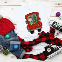 Red Vintage Truck Elf Christmas Sublimation Transfer
